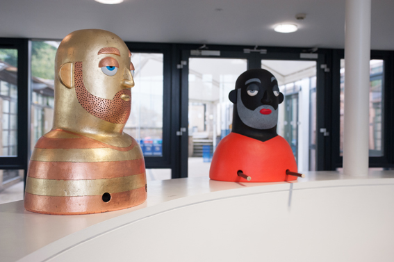 Big Heads in Reception (front view)